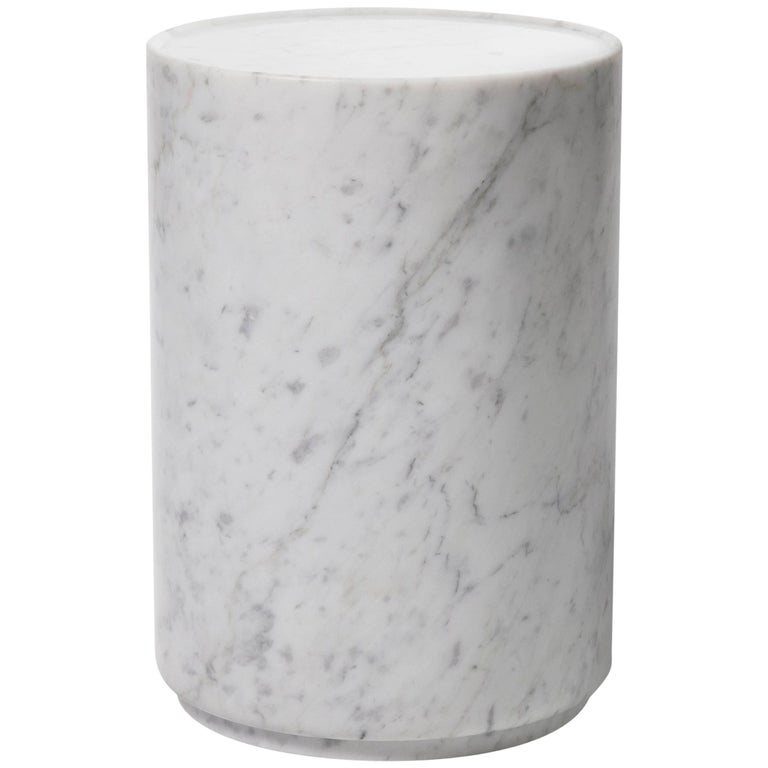Contemporary Minimal Handcrafted in Italy Carrara Marble Side Table In Stock  For Sale