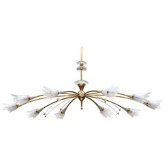 Vintage French Modern Sputnik Starbust Chandelier in Brass with Opaline Glass