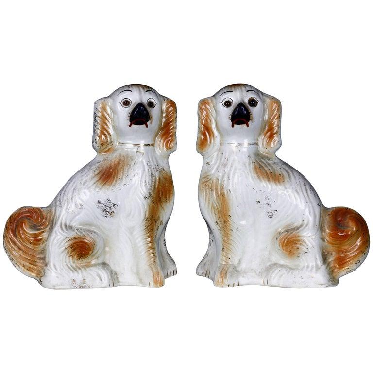 Pair of English Staffordshire Golden Ceramic Dogs
