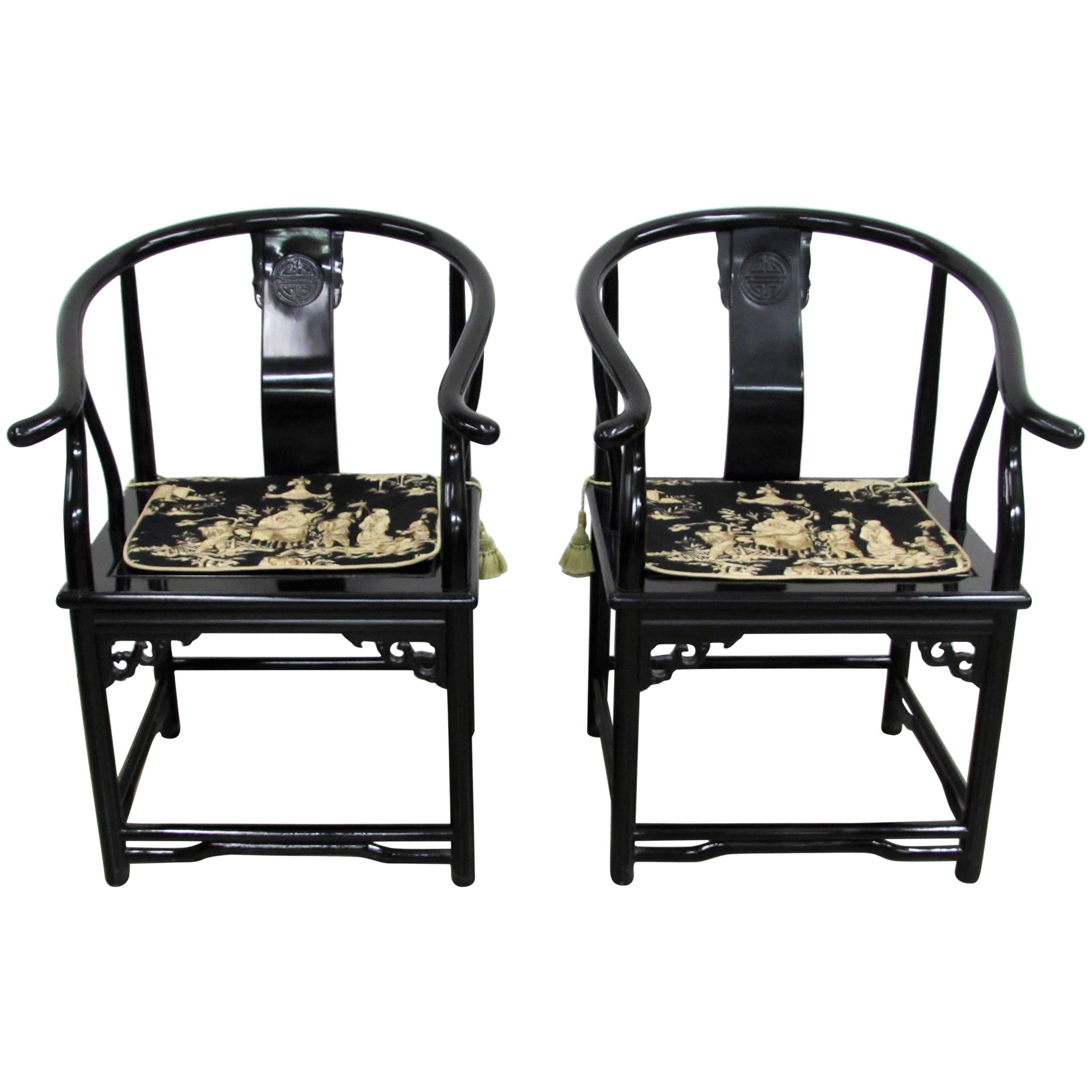 Black Lacquer Asian Horseshoe Arm Chairs, Pair For Sale