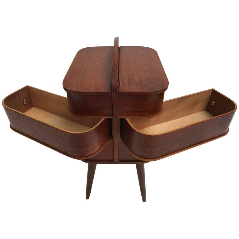 Adorable Danish Teak Plywood Sewing Box Distributed by Pastoe in the 1950s For Sale