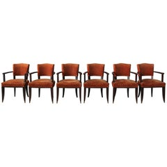 Set of Six French Art Deco Darkened Wood Bridge Chairs with Bronze Sabots