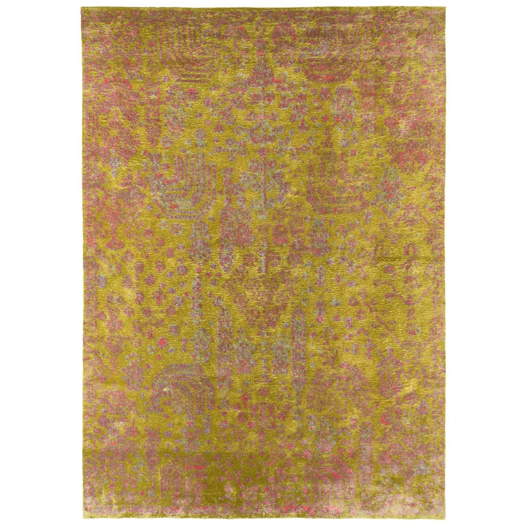 Contemporary Silk Rug By Carini 10x14 For Sale