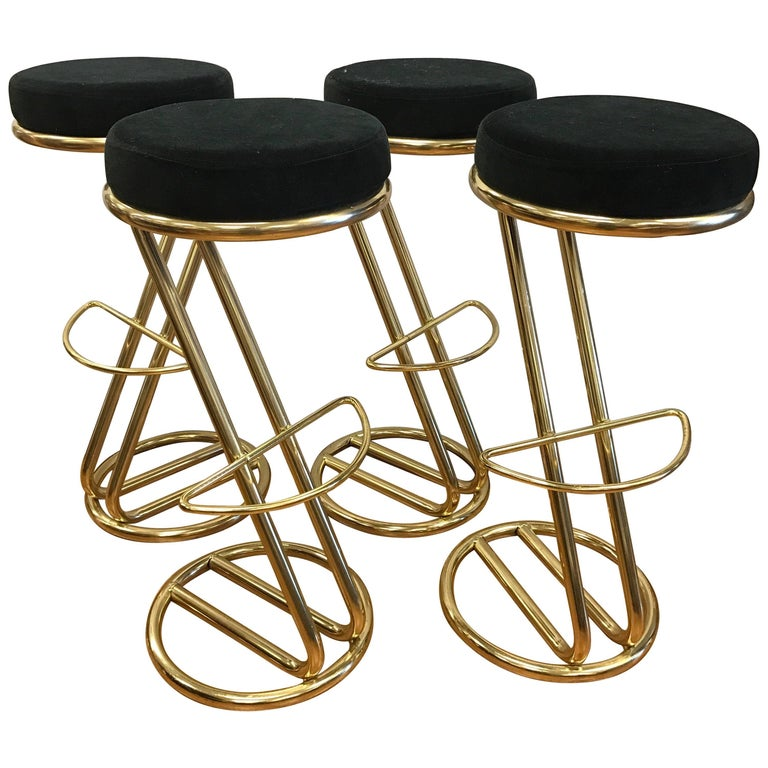Art Deco Set Of Four Italian Bar Stools At 1stdibs