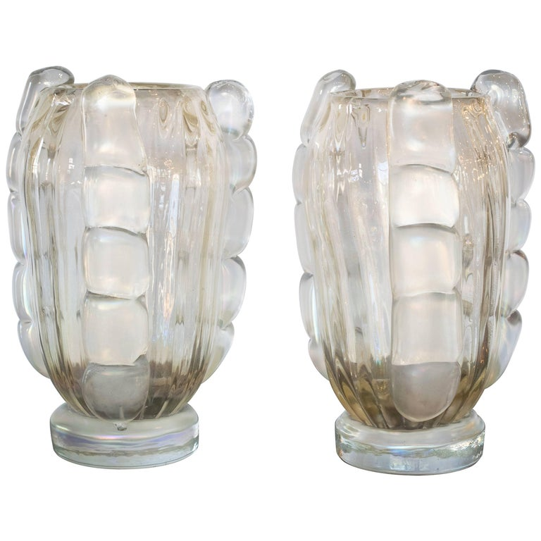 Ribbed Murano Vases by Sergio Costantini, Pair