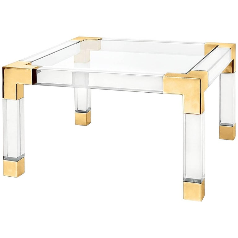 Jacques Lucite and Brass Cocktail Table For Sale