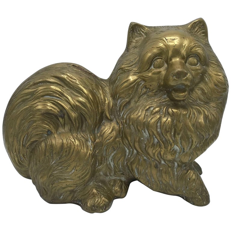 Brass Pomeranian Dog Sculpture For Sale At 1stdibs