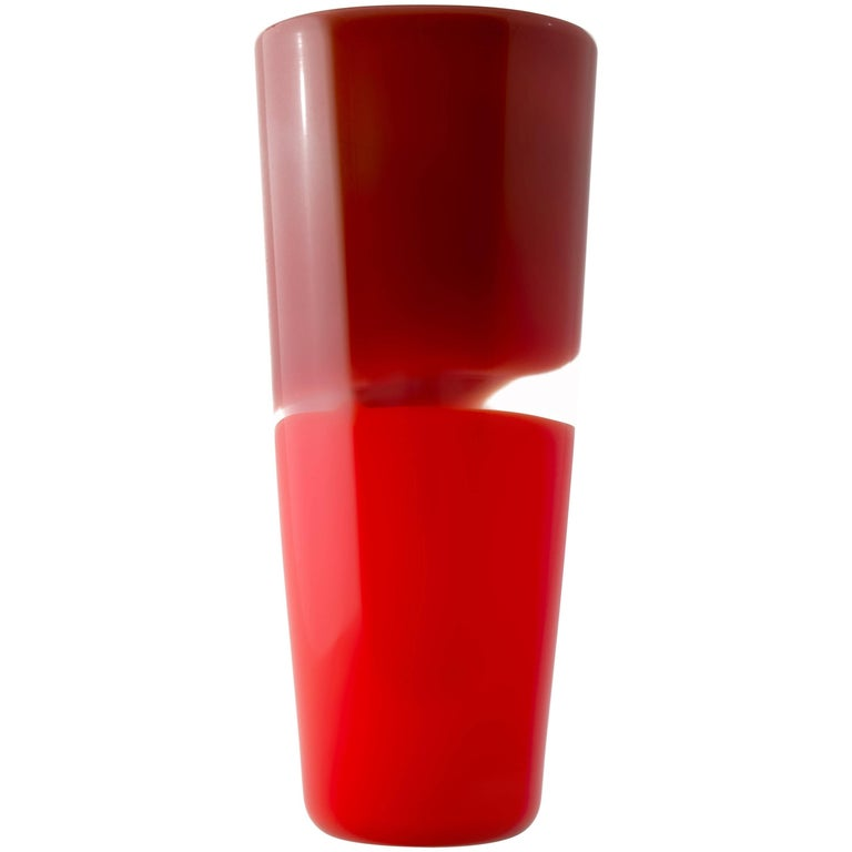 Red Cylinder Blown Glass Vase, Two-Tone Series by Designer Caleb Siemon