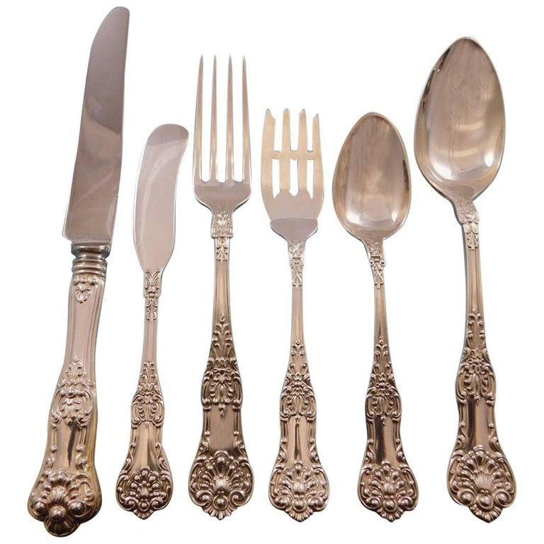 New Kings by Roden Canada Sterling Silver Flatware Set for 8 Service 52 Pc Shell For Sale