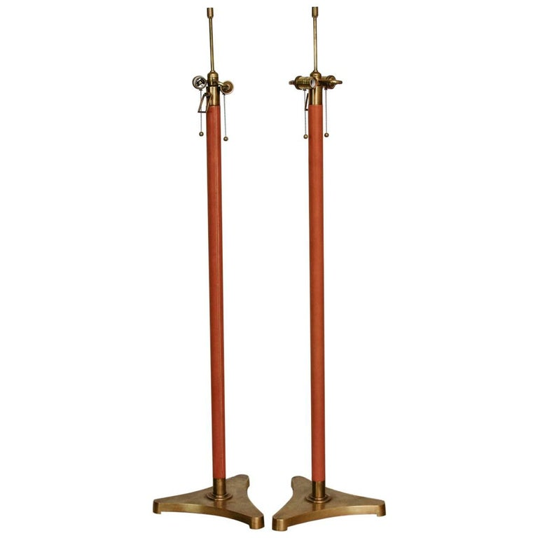 Pair of Jacques Adnet Style Brass and Leather Wrapped Floor Lamps