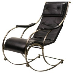 19th Century Steel and Leather Rocking Chair by R.W. Winfield