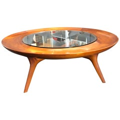 Italian Walnut Custom Round Coffee Table