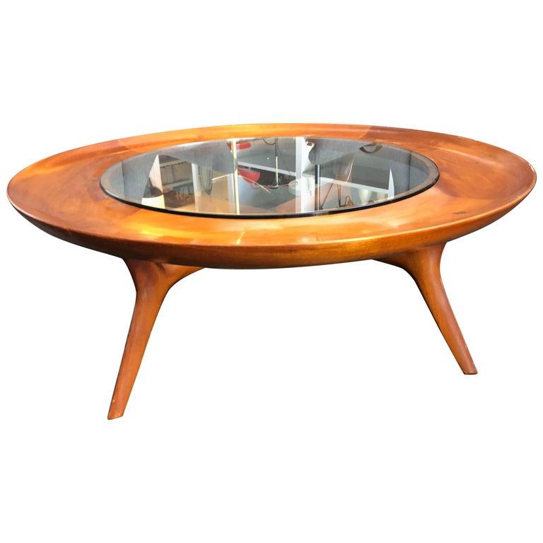 Italian Walnut Custom Round Coffee Table