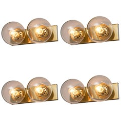 Set of Four Transparent Brass Wall Lights