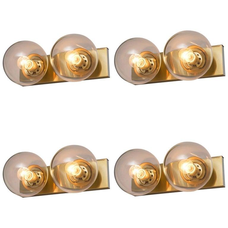 Set of Four Transparent Brass Wall Lights