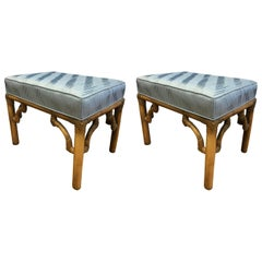 Pair of Chinoiserie Style Bamboo Benches Stools
