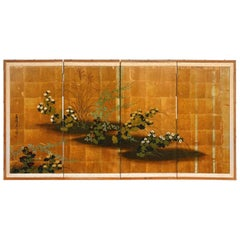 Japanese Four Panel Floral Gold Leaf Byobu Screen