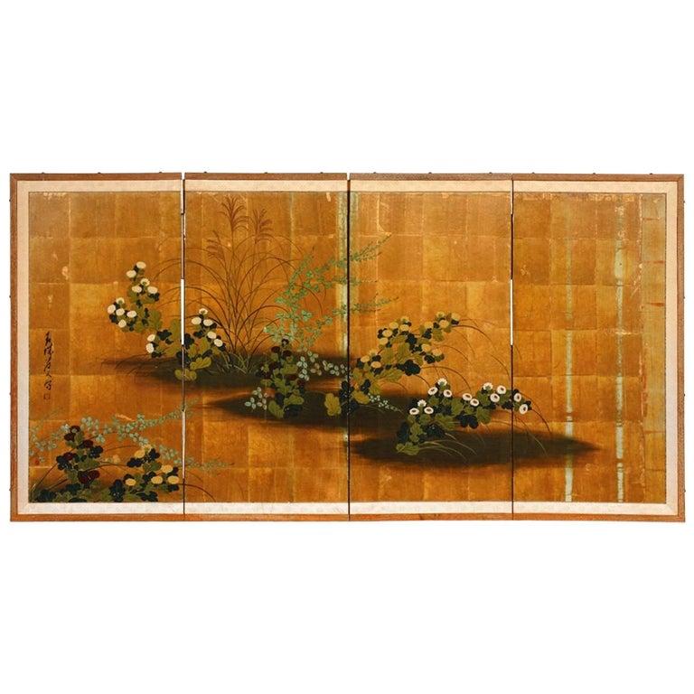 Japanese Four Panel Floral Gold Leaf Byobu Screen