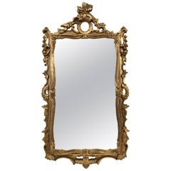 French Gold Scroll Giltwood Mirror