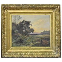 """19th Century French Oil Painting Signed by Barthalot, """"Paysage Anime"""""""