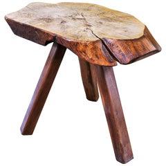Rustic Live Edge Wood Slab Table with Three Legs