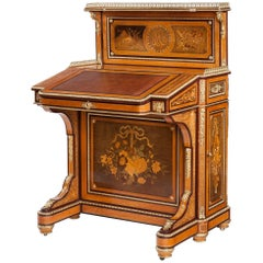 19th Century Marquetry Writing Table Davenport