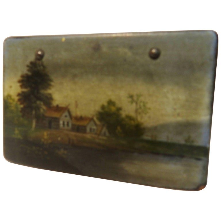 Antique Russian Lacquer Box with Landscape