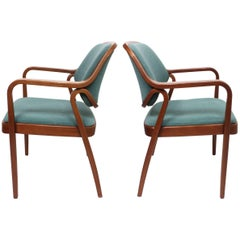 27c7d1cc9d715 Pair of Mid-Century Modern Bentwood Mahogany Side Chairs by Don Pettit for  Knoll