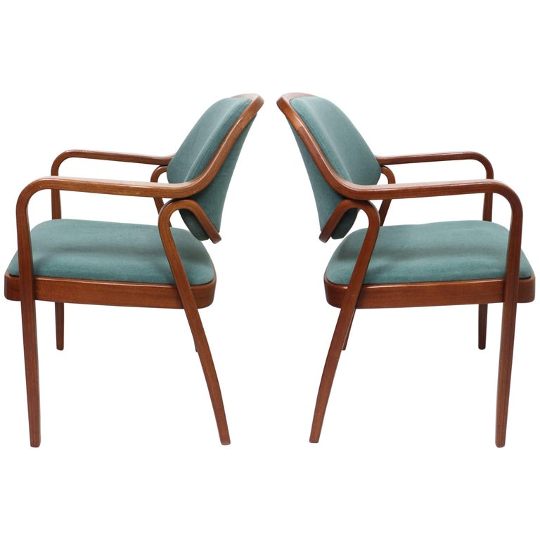 Pair of Mid-Century Modern Bentwood Mahogany Side Chairs by Don Pettit for Knoll