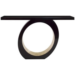 Belmont Console Table, High Gloss Dark Tinted Macassar Ebony and White Gold Leaf