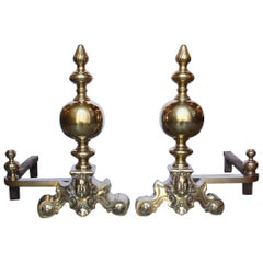Louis XIV Brass and Cast Iron Andirons