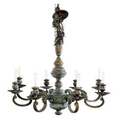 Large Eight-Light Green Patinated Brass Chandelier