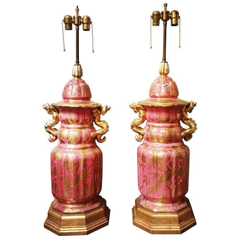 Pair of Monumental Paris Porcelain Jars Mounted as Lamp Bases