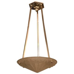 Stunning French Art Deco Geometric Chandelier by Degue