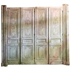 Antique French Carved Architectural Wood Doors, Two Pair