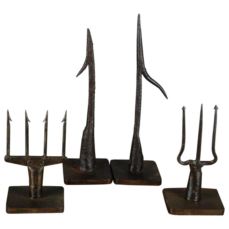Collection of wrought iron 19th 18th century fish spears for Fishing spears for sale