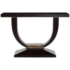 Albany Console Table, Satin Scaymore Black and Distressed Metallic Leaf