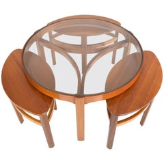 Midcentury Oak Three Coffee Nesting Tables by Nathan, 1960s