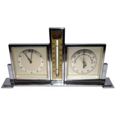 1930s Art Deco Chrome Desk Top Clock and Weather Station