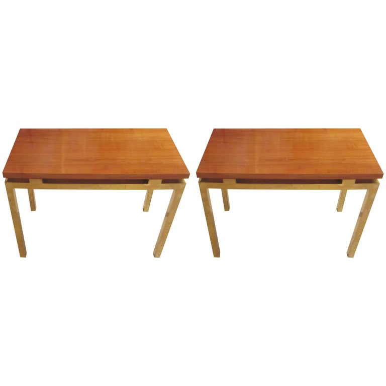 Pair of Modern Tables with Polished Tops on Brass Bases
