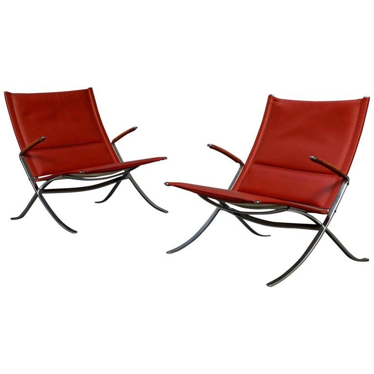 Very Rare Pair of Kastholm & Fabricius FK82 or 'x' Chairs for Alfred Kill