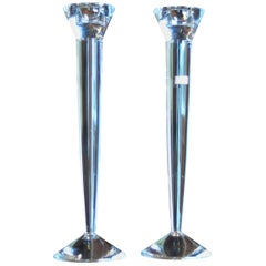 20th Century Baccarat Crystal Flambeaux Candlesticks