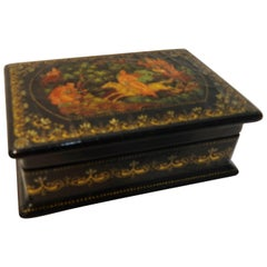 Vintage Hand-Painted Russian Lacquer Box with Fairies