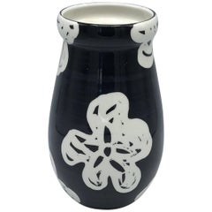 1970s Bitossi Vase with Modern Black and White Floral Motif