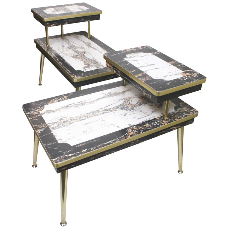 Pair of Matching Mid-Century Modern Black & White Faux-Marble & Brass End Tables