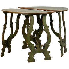 Pair of 19th Century Carved and Painted Italian Demilune Tables