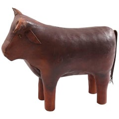 Omersa Large-Scale Leather Bull Ottoman