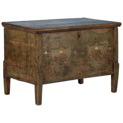 Flat Top Green Trunk with Original Painted Floral Details, circa 1840-1860