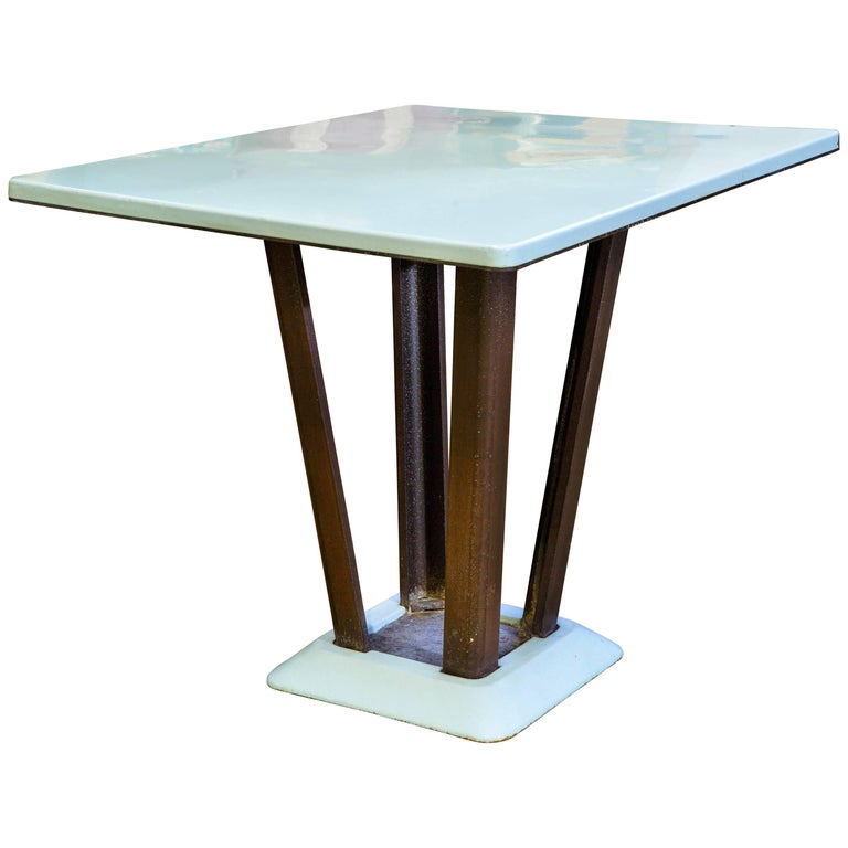 Porcelain Enamel on Iron Rectangular Art Deco Table For Sale