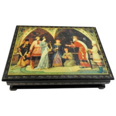 Russian Lacquer Box with Scene of Royalty at the Kremlin